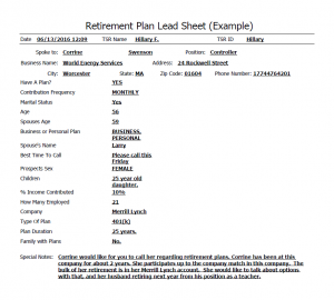 Example Lead Sheet for Retirement Plan